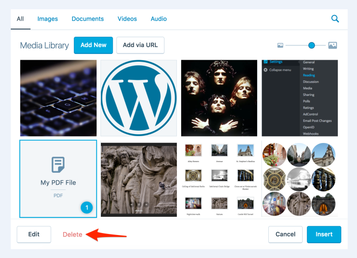 How to delete multiple images from media library in Wordpress