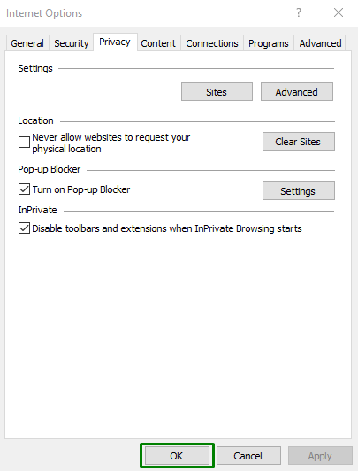 how to disable browser Pop-up Blockers on Internet Explorer