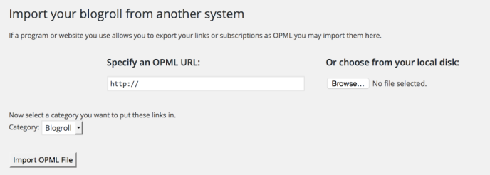 how to import links from another system into your WordPress blogroll