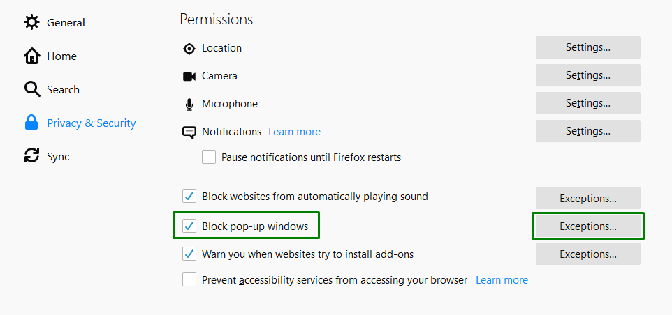 how to disable browser pop-up blockers on Mozilla Firefox