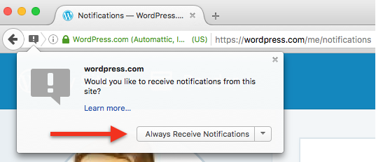 how to enable wordpress notifications in your browser