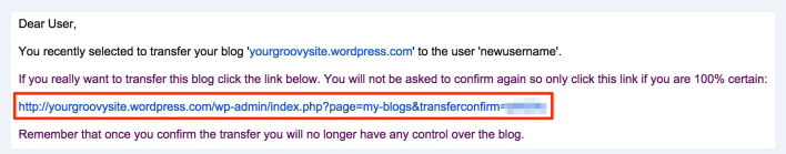 how to transfer a site to another WordPress.com account