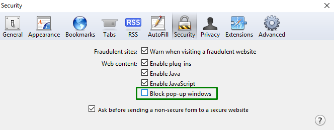 How to disable browser pop-up blockers on Safari