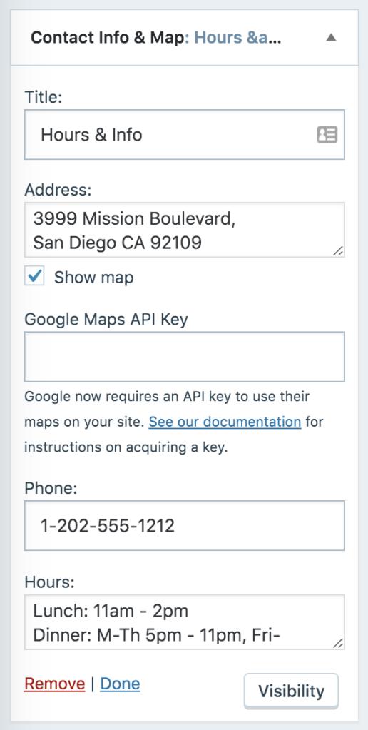 how to display contact info widget