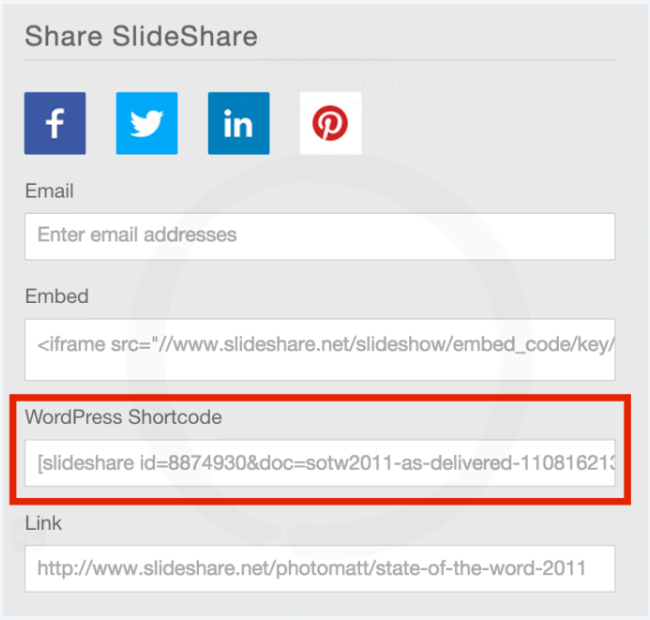 Embed a slideshow from SlideShare