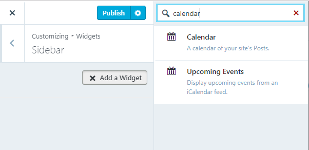 display Calendar Widget