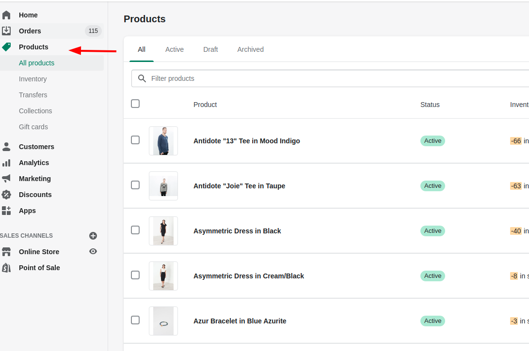 insert sku numbers in shopify