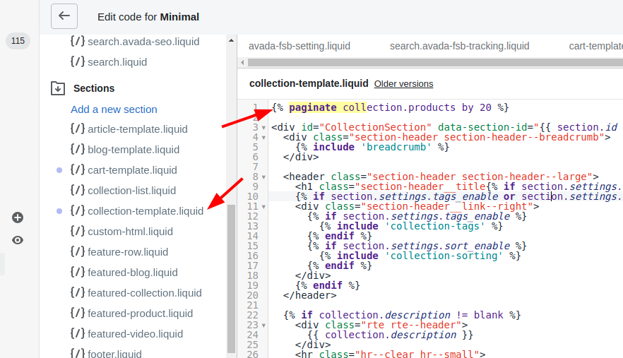 How to update the collection template liquid file in shopify