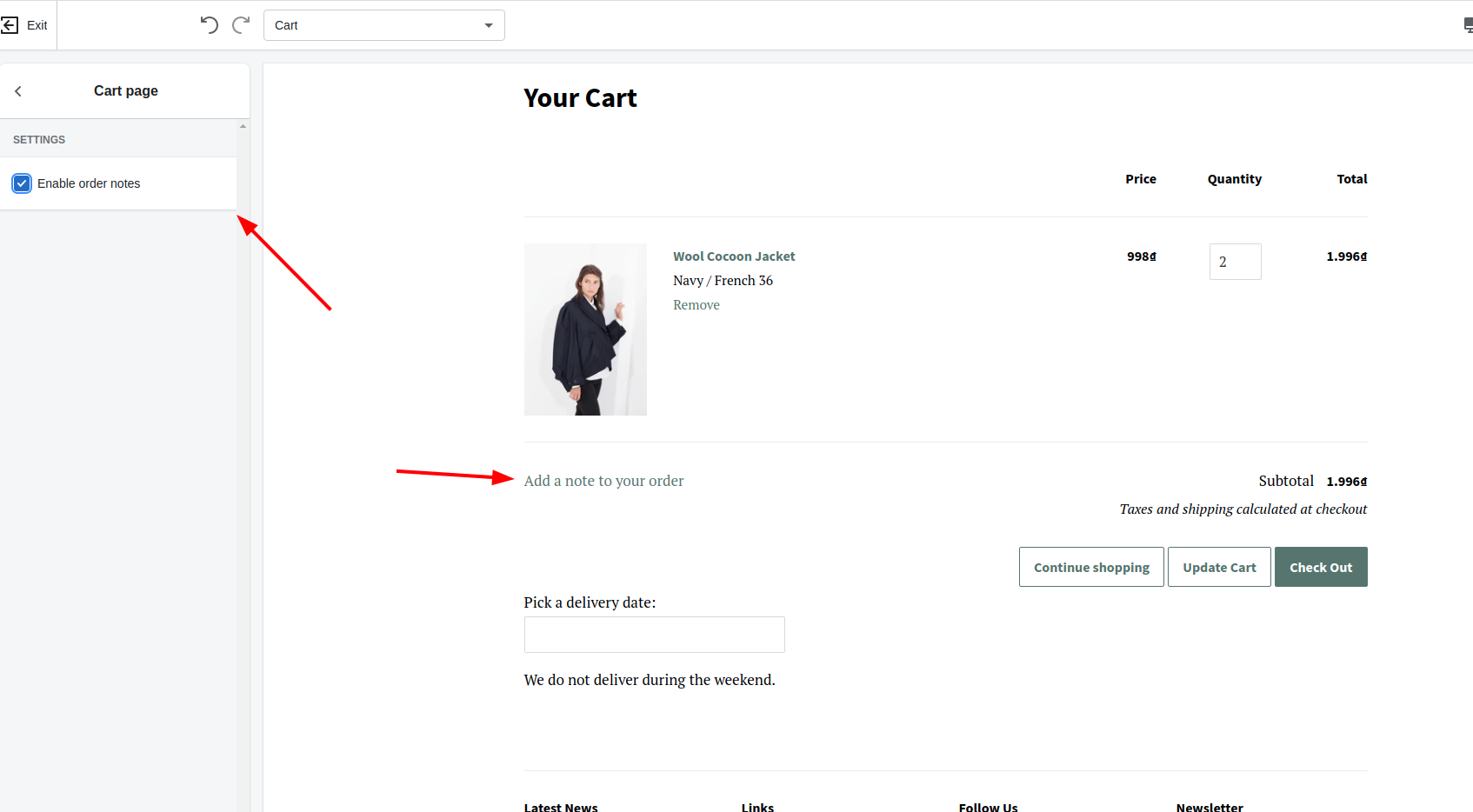 how to enable order notes in shopify